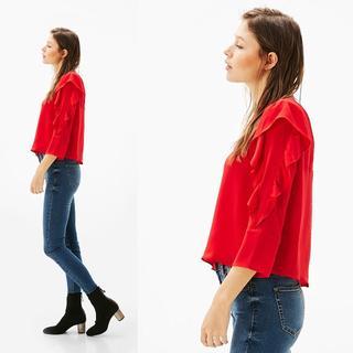 ザラ(ZARA)の新品 Bershka 袖フリルトップス 赤 Sサイズ ベルシュカ(シャツ/ブラウス(長袖/七分))