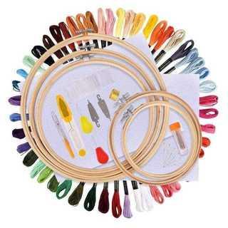 刺繍セット 竹製 刺繍枠5本 刺繍糸50束 刺繍針30本 刺繍用布 18x12(生地/糸)