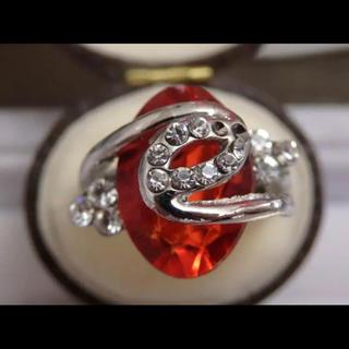 即購入OK*オレンジストーンシルバーカラーリングゴージャス指輪大きいサイズ(リング(指輪))