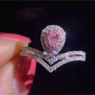 特売品♡ ピンク雫型ダイヤ デザイン指輪(リング(指輪))