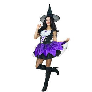 ディズニー(Disney)の新品! ウィッチ 魔女 コスプレ 衣装 紫 パープル (衣装一式)