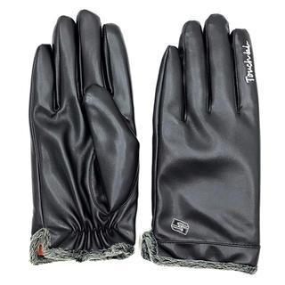 防寒 レザー手袋 全指スマホ対応 メンズ 裏起毛 防寒 自転車 紳士用(手袋)