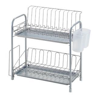 即買いOK★パール金属 食器 水切り かご スリム 2段 シンプル