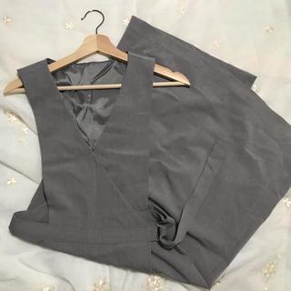 ジーユー(GU)のラップジャンパースカート ワンピース ラップジャンパードレス ジーユー グレー(ひざ丈ワンピース)