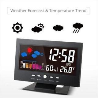 カラーディスプレイ☆デジタル温度湿度計 LCD温度湿度計(掛時計/柱時計)