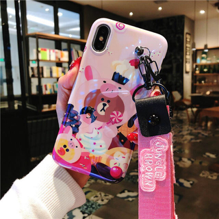 iPhone - 新作 3点付属品(スタンド熊ちゃんとロング&ショットストラップ)ピンク2タイプ