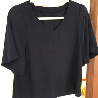 ジーユー(GU)のGU ネイビー シフォントップス(カットソー(半袖/袖なし))