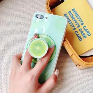 iPhone - 最終セール 可愛いライム&スイカ強化ガラス iphoneケース リング付き