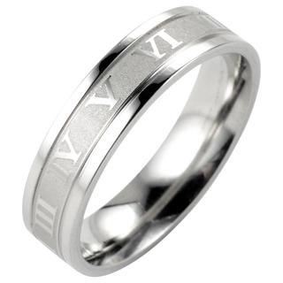 【16.5号】【シルバー】ローマ数字ステンレスリング 指輪 メンズ レディース(リング(指輪))