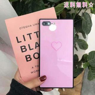 アイフォンケース ハート スクエア 可愛い 韓国 ブラック