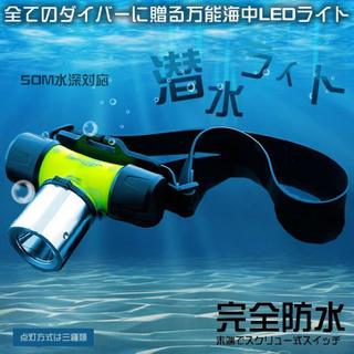 潜水ライト LED ダイビング ヘッドライト 高輝度 完全防水 50M 水深対応(ライト/ランタン)