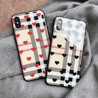 iPhoneケース 送料0★ハート チェック 美光沢黒 赤 iPhone6/6s