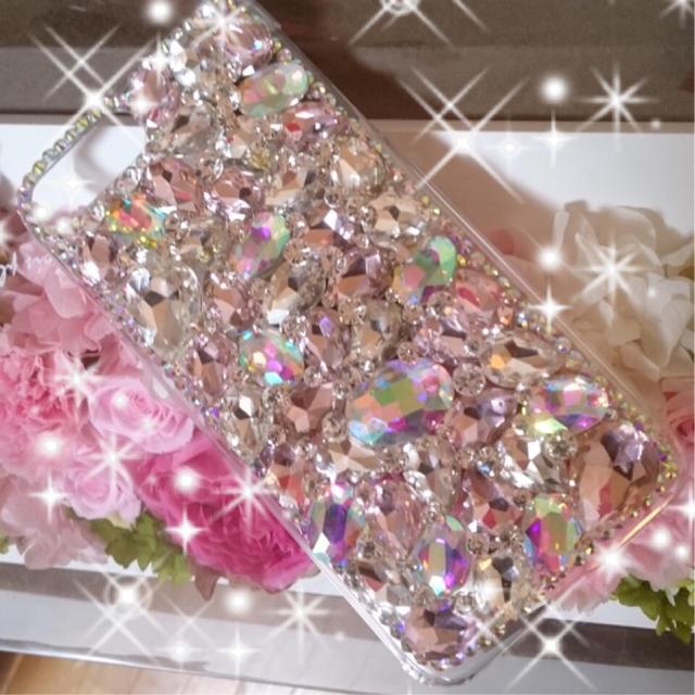 iphone x 極 薄 ケース / キラキラガラスビジュー デコ iphone アイフォンカバー ケースの通販 by デコショップ  雅|ラクマ