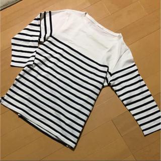 ジーユー(GU)の未使用 ジーユーボーダーカットソーM 七分袖  GU(Tシャツ/カットソー(七分/長袖))