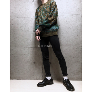 [used]yellow×green art design knit.(ニット/セーター)
