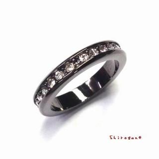 激売れ☆フルエタニティリング ガンメタ スワロフスキー使用 指輪(リング(指輪))
