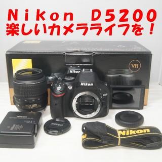 ニコン(Nikon)の★自撮り&手ブレ補正OK★Nikon D5200★標準レンズセット★美品★(デジタル一眼)