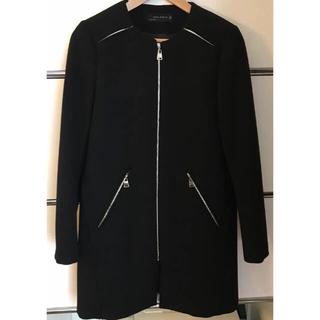 ザラ(ZARA)のZARA ノンカラー  ジャケット コート 黒/S(ロングコート)
