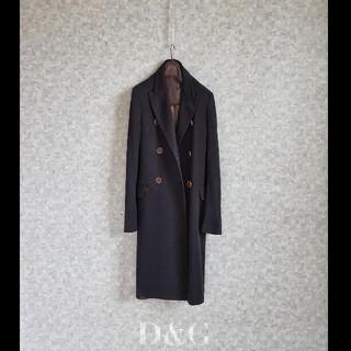 ディーアンドジー(D&G)の超高級 ドルチェ&ガッバーナ 最高級イタリア製 モダンブラックコート D&G(チェスターコート)