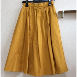 ジーユー(GU)の美品 gu フレアスカート 黄色 マスタード カラースカート ジーユーユニクロ (ひざ丈スカート)