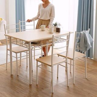 収納スペース付き!木目調 ダイニングテーブル 5点セット ナチュラル(ダイニングテーブル)