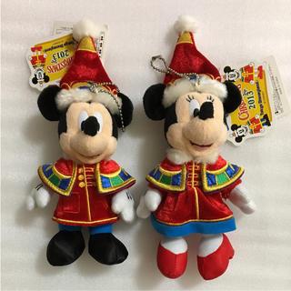 ディズニー(Disney)の☆値下げ中☆ディズニークリスマス2013 ミッキー  ミニー ぬいぐるみバッジ(キャラクターグッズ)