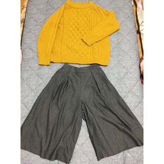 ジーユー(GU)のGU ケーブルニット&ガウチョパンツ まとめ売り(ニット/セーター)
