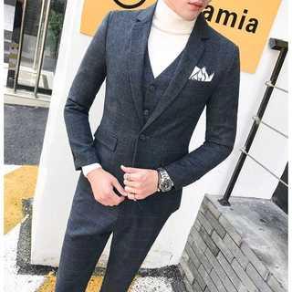 セットアップ チェック柄 スーツメンズ 紳士 スーツジャケット 着痩せzb370(セットアップ)