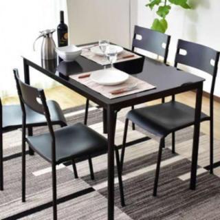ガラス製 ダイニングテーブルセット ブラック(ダイニングテーブル)