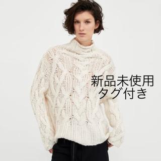 ZARA - 新品タグ付き ザラ ビックサイズ セーター ニット M ホワイト 白 ケーブル