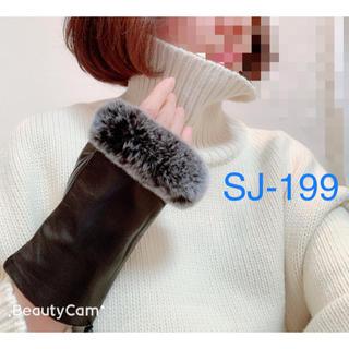 冬SALE❄️7888→6888 レッキスファー付き羊革製指出し手袋✨一点のみ(手袋)