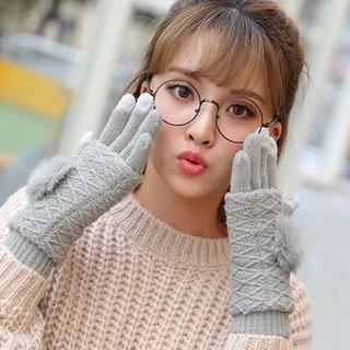 【グレー】スマホ 対応 レディース ファー 付 ニット【3way】手袋(手袋)