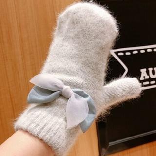 薄グレー♡ミトンリボン手袋グローブ秋冬レディース防寒プレゼント可愛いギフト安い(手袋)