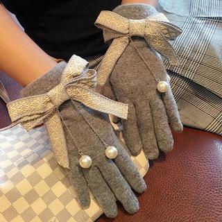 揺れる大粒パール♡リボン手袋グローブ秋冬レディース防寒プレゼント裏起毛ギフト小物(手袋)