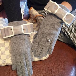 グレー♡配色リボンパールストーン指輪マリッジリング手袋グローブ防寒可愛い小物秋冬(手袋)