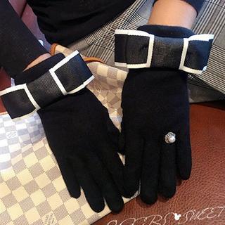 黒♡配色リボンパールストーン指輪マリッジリング手袋グローブ防寒可愛い小物秋冬(手袋)