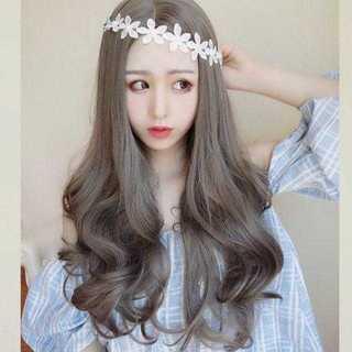 KU134 ネット付き 新品美髪ウィッグ*ゆるカールロング*グレージュ(ロングカール)