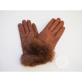 クロエ(Chloe)の新品★Chloe クロエ★ファー付 レザー手袋★ブラウン(手袋)