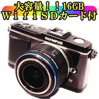 ★大容量!16GBWifiSD付き★オリンパス E-P2 レンズキット(ミラーレス一眼)