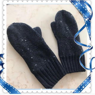 ギャップ(GAP)の美品 GAP ミトン 手袋 黒 ひかえめスパンコール /ZARA ザラ H&M(手袋)