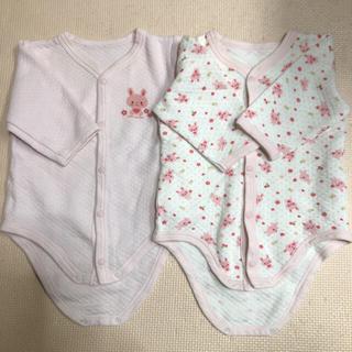 ニシマツヤ(西松屋)のロンパース 長袖 キルト 70 2枚セット(肌着/下着)