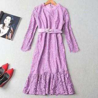ドレス 女性 スウェット 通勤 S 紫(ウェディングドレス)