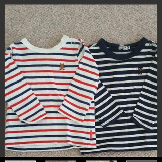 ミキハウス(mikihouse)のミキハウス ボーダー 長袖2枚セット ロンT カットソー(Tシャツ)