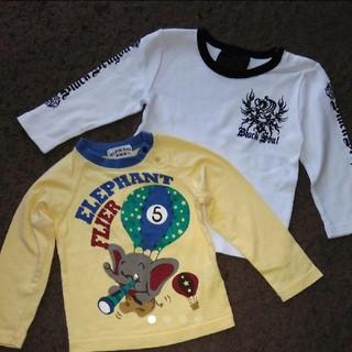 新品 白クールロンT  美品 黄色ゾウさんロンT サイズ90 2着セット(Tシャツ/カットソー)