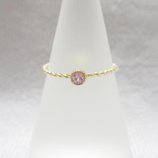 103 一粒 ピンク 天然石 ゴールド エタニティ 1粒 リング 指輪 9号(リング(指輪))