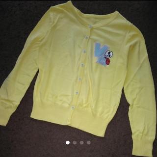 黄色 ワッペン 刺繍 カーディガン サイズM(カーディガン)