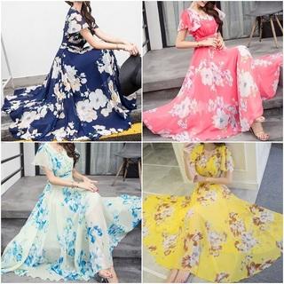 ♡全4色♡ 花柄 マキシ ワンピース シフォン サマー ビーチ リゾート ドレス(ロングワンピース/マキシワンピース)