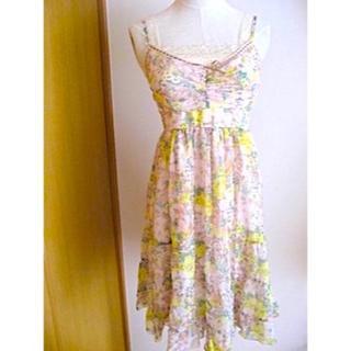 レストローズ(L'EST ROSE)の衣類69/サイズ2:レストローズ:春夏レースキャミ付きフラワーシフォンワンピ(ひざ丈ワンピース)