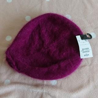 エイチアンドエム(H&M)の紫色 花つき ベレー帽 H&M(ハンチング/ベレー帽)