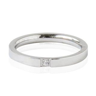 シルバー 一粒ジルコニア平打ち 2mm リング ステンレス 指輪レディース(リング(指輪))